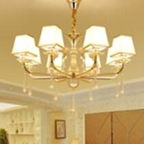 新中式客廳LED吊燈別墅書房餐廳燈具鐵藝布藝吧臺燈臥室工裝飾燈
